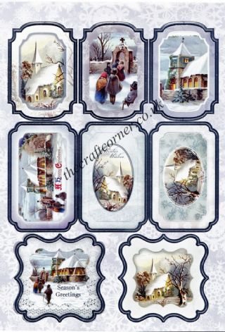 Die Cut Foil Traditional Christmas Village Scene Toppers and Backing Card from Craft UK Ltd